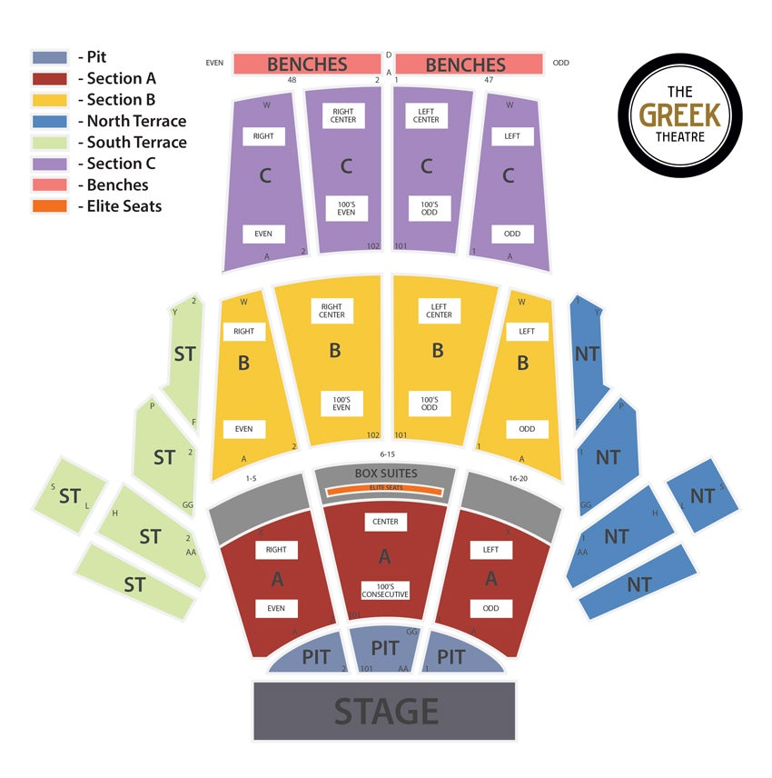 Seating chart greek theatre